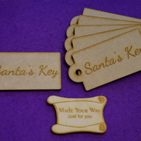 MDF Luggage Tag Rounded Santa s Key 4x8cm- 6 x Laser cut wooden shape