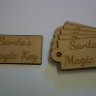 MDF Luggage Tag Rounded Santa s Magic Key 4x8cm - 6 x Laser cut wooden shape