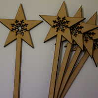 MDF Star Wand with snowflake 10x24.5cm - 5 x Laser cut wooden shape