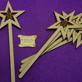 MDF Star Wand with fancy snowflake 10x25cm - 5 x Laser cut wooden shape