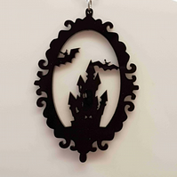 Framed scary castle and flying bats necklace - Acrylic