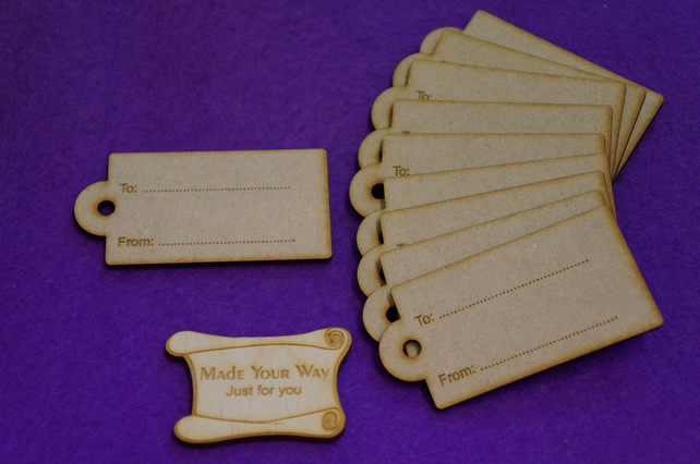 MDF Luggage Tag Rounded ToFrom 4x8cm - 10 x Laser cut wooden shape