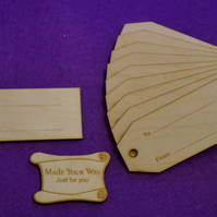 Birch Luggage Tag Squared To From 4x9cm - 10 x Laser cut wooden shape
