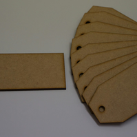 MDF Luggage Tag Squared 4x9cm - 10 x Laser cut wooden shape