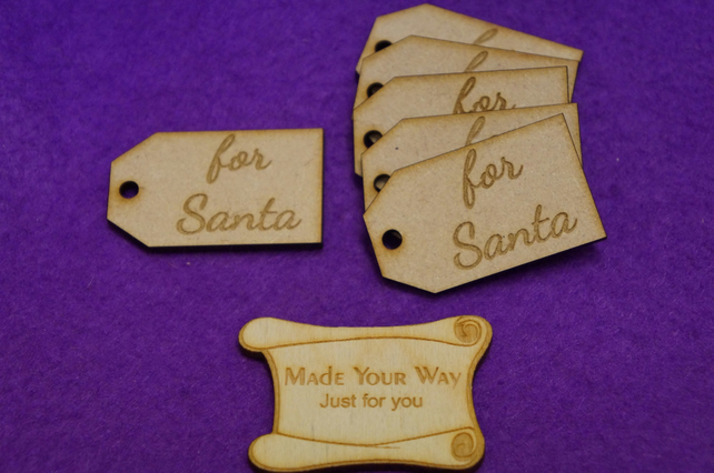 MDF Luggage Tag Squared For Santa 3x5cm - 6 x Laser cut wooden shape