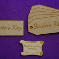 MDF Luggage Tag Squared Santa's Key 4x9cm - 6 x Laser cut wooden shape