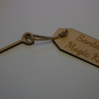 Birch Luggage Tag Squared Santa s Magic Key with Key 4x9cm - Laser cut wooden