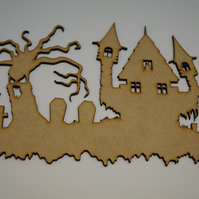 MDF Halloween Scary House 24x16cm - Laser cut wooden shape