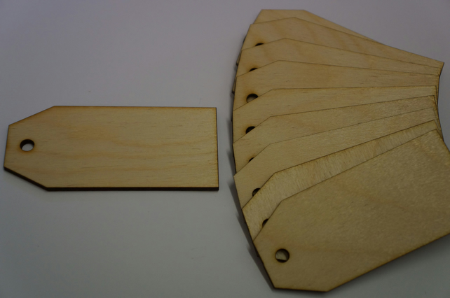 Birch Luggage Tag Squared 4x9cm - 10 x Laser cut wooden shape