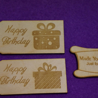 Birch Luggage Tag Squared Happy Birthday 4x9cm - 2 x Laser cut wooden shape