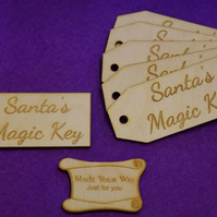 Birch Luggage Tag Squared Santa s Magic Key 4x9cm - 6 x Laser cut wooden shape