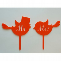Acrylic Cake Topper - Mr & Mrs Lovebirds - Laser cut