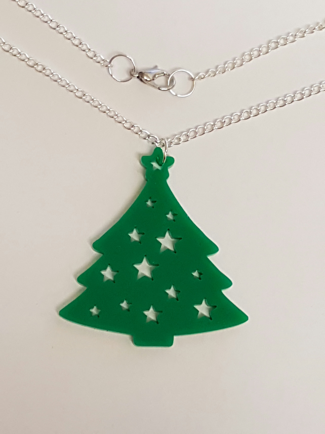 Christmas Tree with Star Necklace - Acrylic