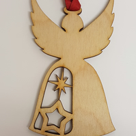 Birch Christmas Xmas Bauble Angel with stars - Laser cut wooden shape