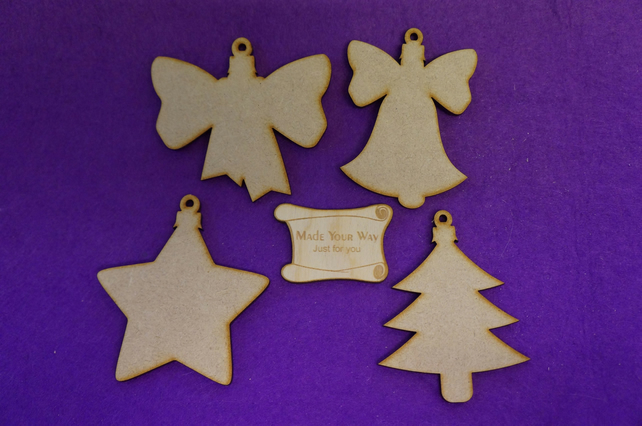 MDF Christmas Xmas Bauble Bell, Star, Bow, Xmas Tree 8cm 4 x laser cut wooden