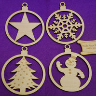 Birch Christmas Xmas Bauble star snowman tree snowflake 9x11cm - 4 x shape