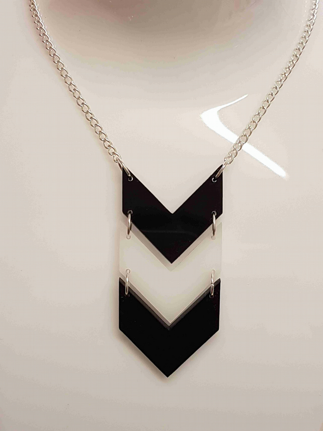 Chevron Pattern Necklace - Acrylic