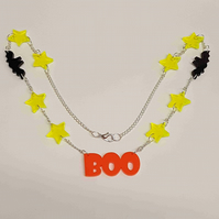 Boo, Bats and Stars Halloween Necklace - Acrylic