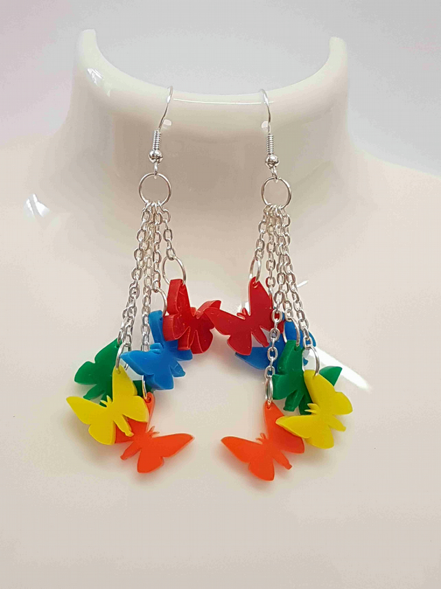 Dangly 5 Butterfly Earrings - Acrylic