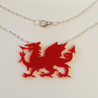 Welsh Dragon Necklace - Acrylic
