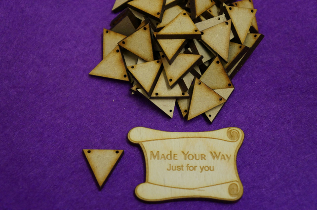 MDF Triangle Bunting two holes 2cm - 50 x Laser cut wooden shape