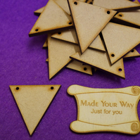 MDF Triangle Bunting two holes 4cm - 25 x Laser cut wooden shape