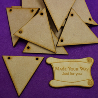 MDF Triangle Bunting two holes 5cm - 15 x Laser cut wooden shape