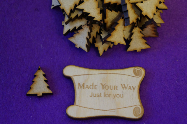 MDF Christmas Xmas Tree one hole 2cm - 50 x Laser cut wooden shape