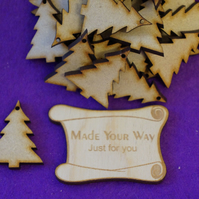 MDF Christmas Xmas Tree one hole 3cm - 25 x Laser cut wooden shape