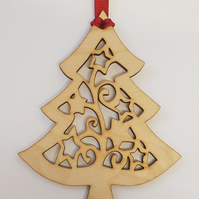 Birch Christmas Xmas Tree Bauble - Laser cut wooden shape