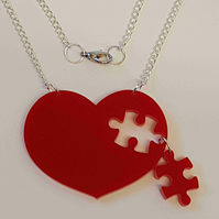 Heart Puzzle Necklace - Acrylic