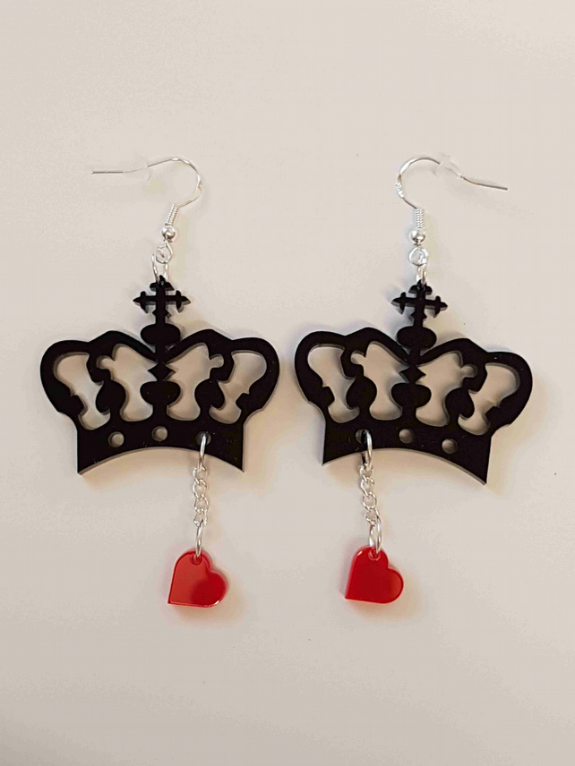 Crown and Heart Earrings - Acrylic