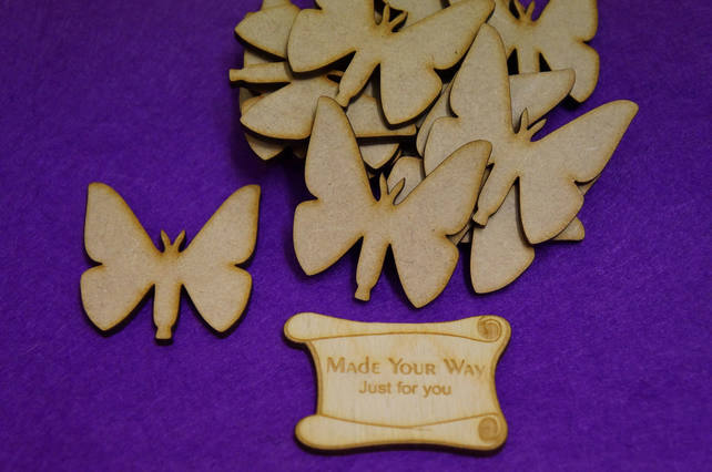 MDF Butterflies 5cm - 15 x Laser cut wooden shape