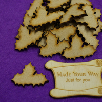 MDF Christmas Xmas Holly 3cm -25 x Laser cut wooden shape