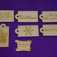 Birch Luggage Christmas Xmas Tag 4x8cm - 6 x Laser cut wooden shape