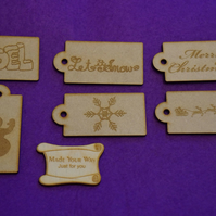 MDF Luggage Christmas Xmas Tag 4x8cm - 6 x Laser cut wooden shape