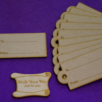 MDF Luggage Tag Rounded To From 4x8cm - 10 x Laser cut wooden shape