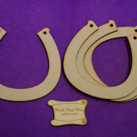 MDF Horseshoe 11.5cm - 4 x Laser cut wooden shape
