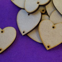 MDF Heart two holes top and bottom 4cm- 25 x Laser cut wooden shape