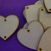 MDF Heart two holes top and bottom 5cm - 15 x Laser cut wooden shape