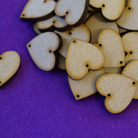 MDF Heart two holes top and bottom 2cm - 50 x Laser cut wooden shape