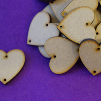MDF Heart two holes top and bottom 3cm - 40 x Laser cut wooden shape