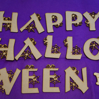 MDF Happy Halloween letters 8-9cm - Laser cut wooden shape