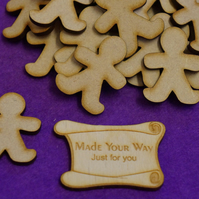 MDF Gingerbread Man 4cm - 25 x Laser cut wooden shape