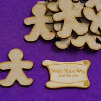 MDF Gingerbread Man 5cm - 15 x Laser cut wooden shape