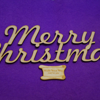 MDF Merry Christmas plaque sign 11x29cm - Laser cut wooden shape