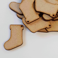 MDF Christmas Xmas Stocking one hole 3cm - 40 x Laser cut wooden shape