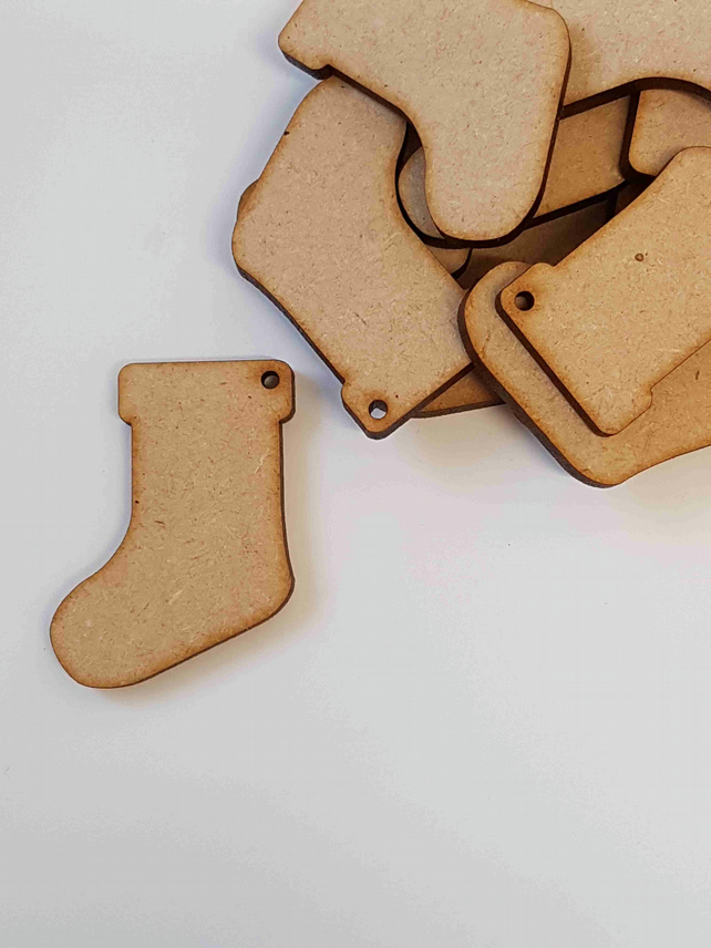 MDF Christmas Xmas Stocking one hole 4cm - 25 x Laser cut wooden shape