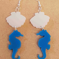 Under the Sea, Seahorse and Clam Shell Earrings - Acrylic