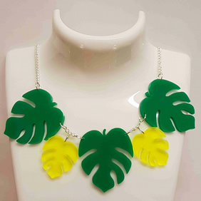 Tropical Palm Leaf Necklace - Acrylic